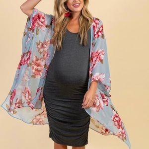 Light Blue Floral Chiffon Draped Maternity Kimono